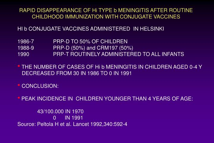 RAPID DISAPPEARANCE OF Hi TYPE b MENINGITIS AFTER ROUTINE CHILDHOOD IMMUNIZATION WITH CONJUGATE VACCINES