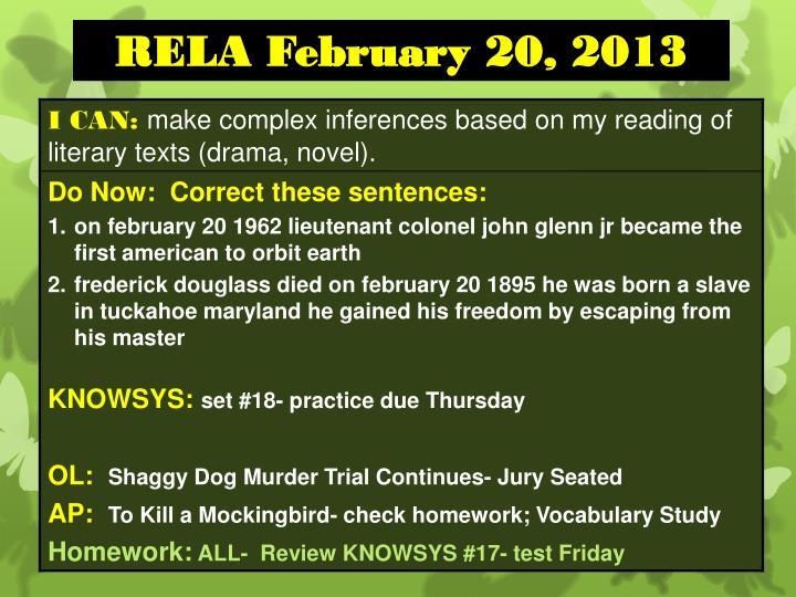 RELA February 20, 2013