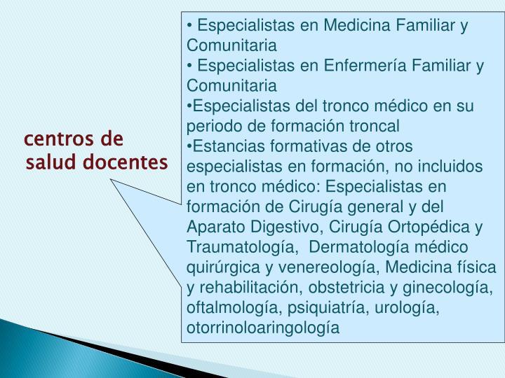centros de salud docentes