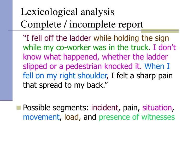 Lexicological analysis