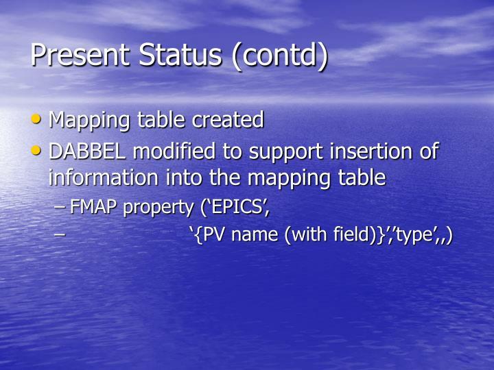 Present Status (contd)