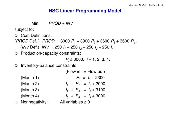 NSC Linear Programming Model