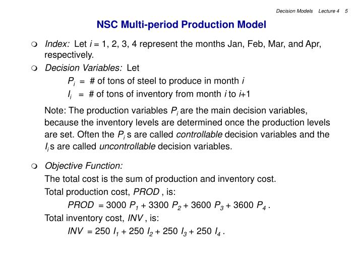 NSC Multi-period Production Model