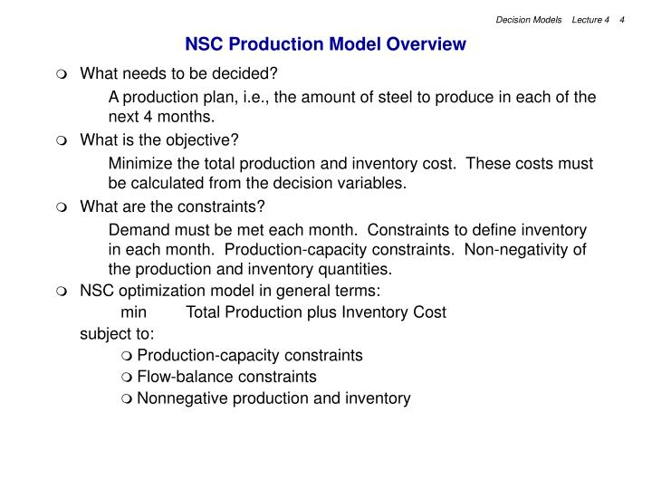 NSC Production Model Overview