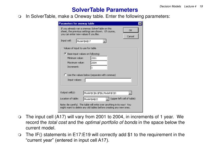SolverTable Parameters