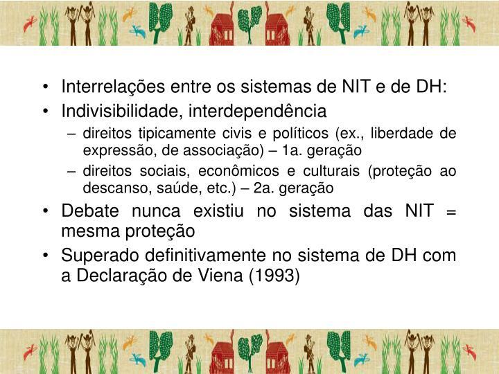 Interrelações entre os sistemas de NIT e de DH: