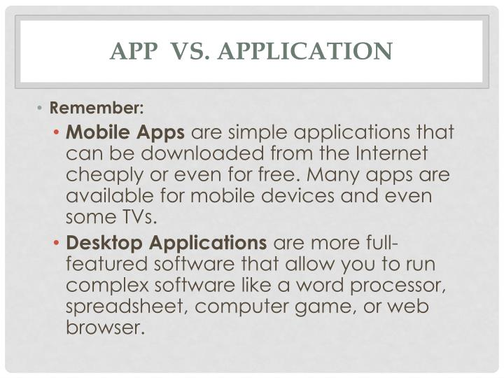 App  vs. Application
