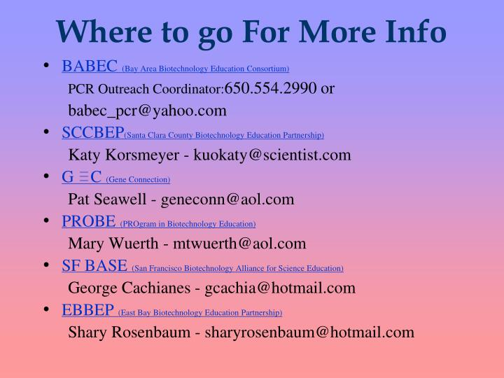 Where to go For More Info