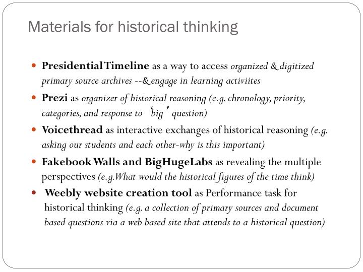 Materials for historical thinking
