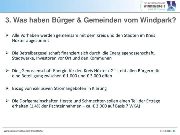 3. Was haben Bürger & Gemeinden vom Windpark?