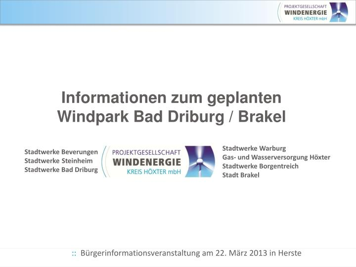 Informationen zum geplanten windpark bad driburg brakel