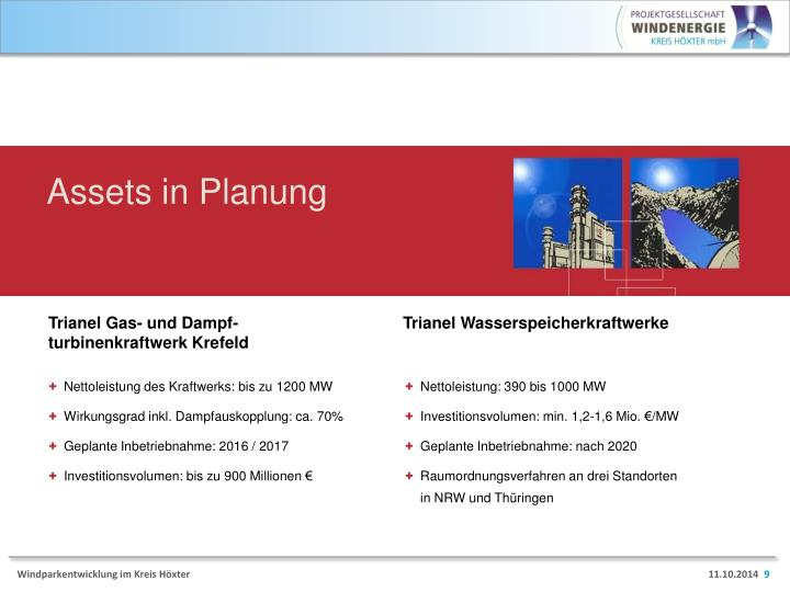 Assets in Planung