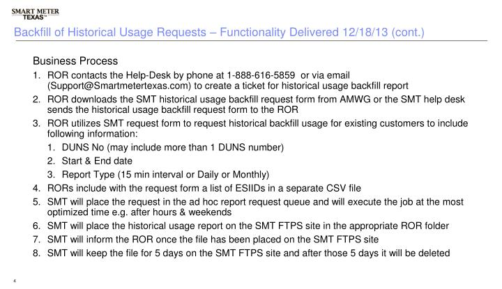 Backfill of Historical Usage Requests – Functionality Delivered 12/18/13 (cont.)