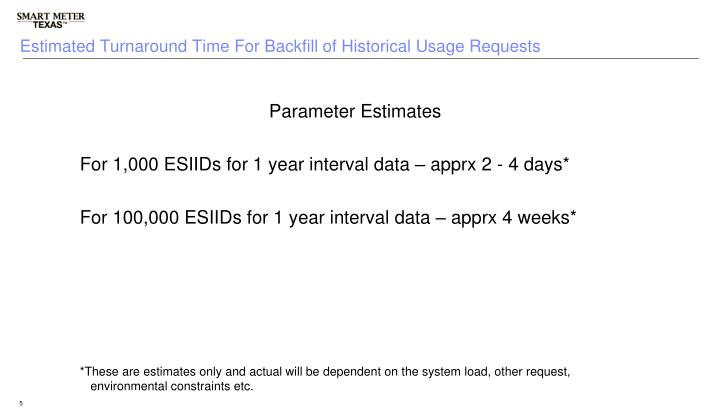 Estimated Turnaround Time For Backfill of Historical Usage Requests