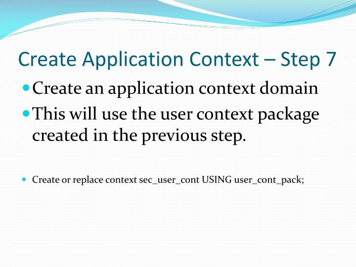 Create Application Context – Step 7