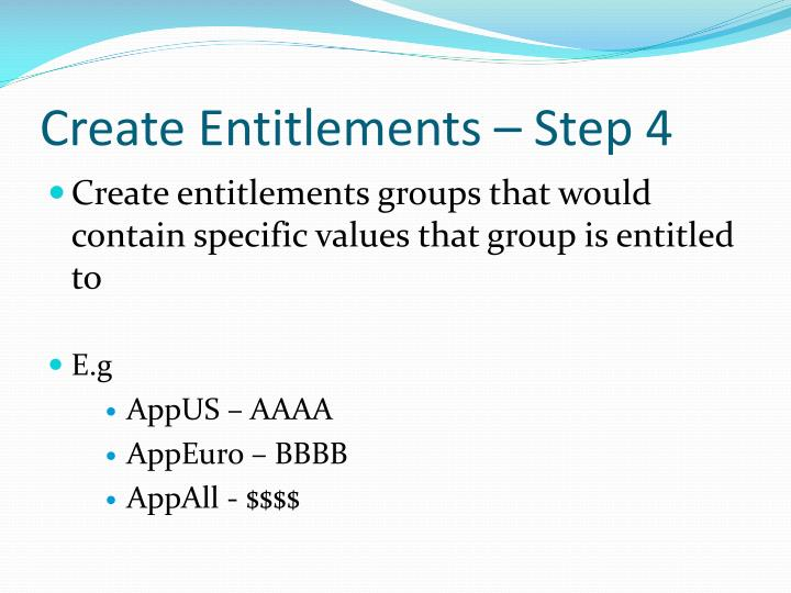 Create Entitlements – Step 4