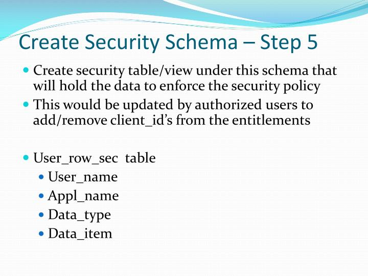 Create Security Schema – Step 5