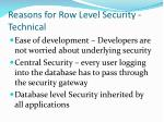 reasons for row level security technical
