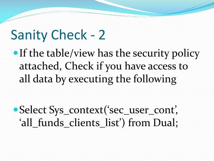Sanity Check - 2