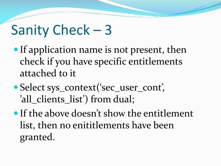 Sanity Check – 3