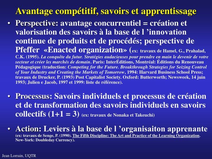 Avantage compétitif, savoirs et apprentissage