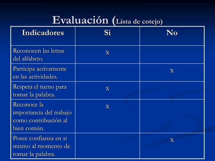 Evaluación (