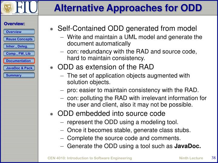 Alternative Approaches for ODD