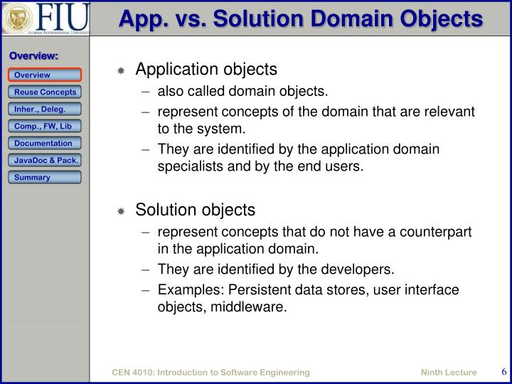 App. vs. Solution Domain Objects