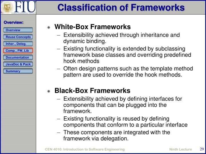 Classification of Frameworks