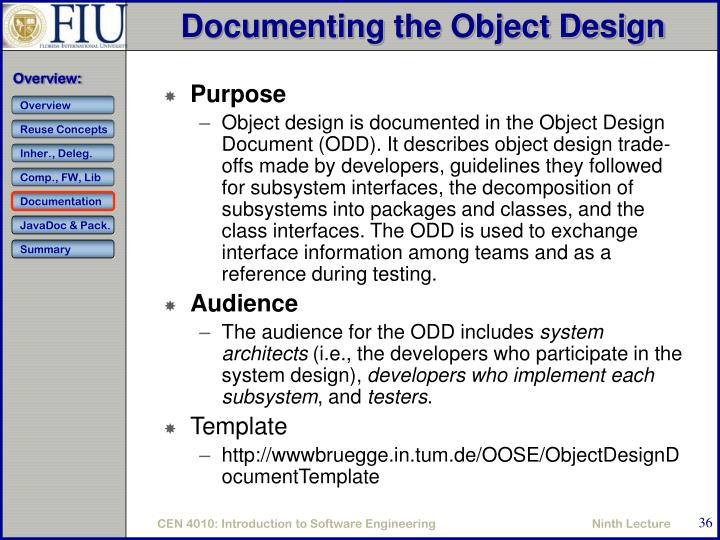 Documenting the Object Design