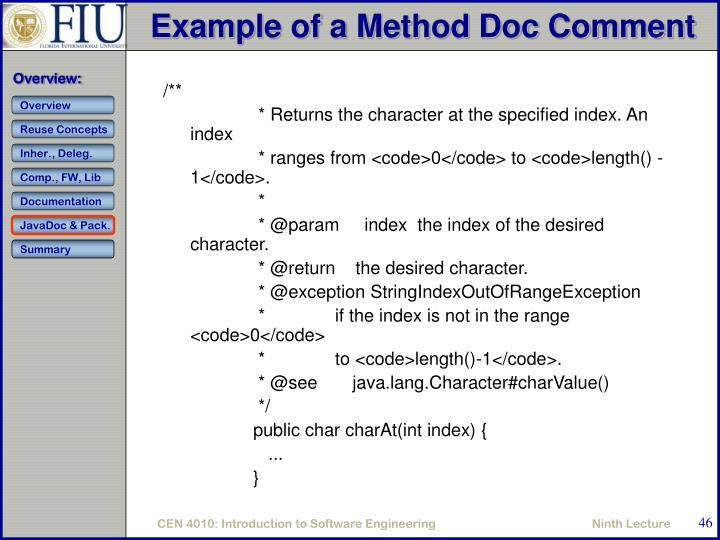 Example of a Method Doc Comment