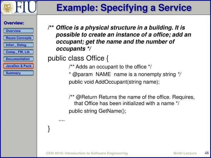Example: Specifying a Service