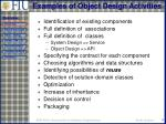 examples of object design activities