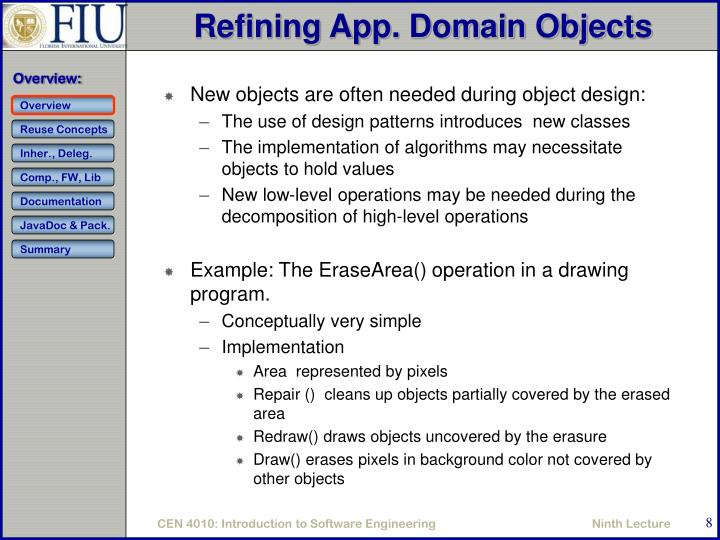 Refining App. Domain Objects