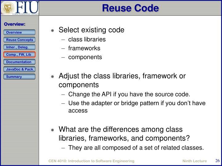 Reuse Code
