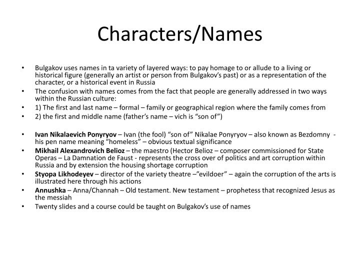 Characters/Names