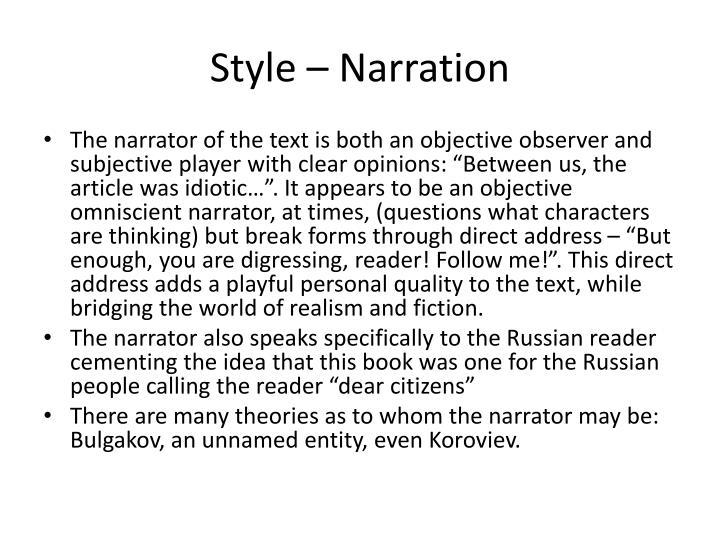 Style – Narration