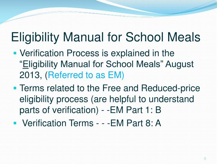 Eligibility Manual for School Meals