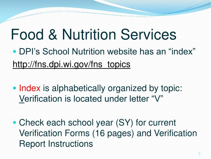 Food nutrition services