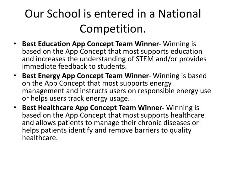 Our School is entered in a National Competition.