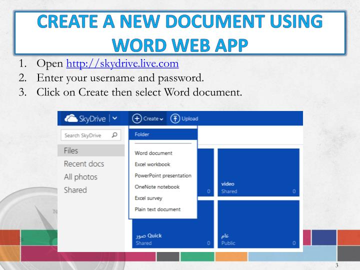Create A new Document using Word