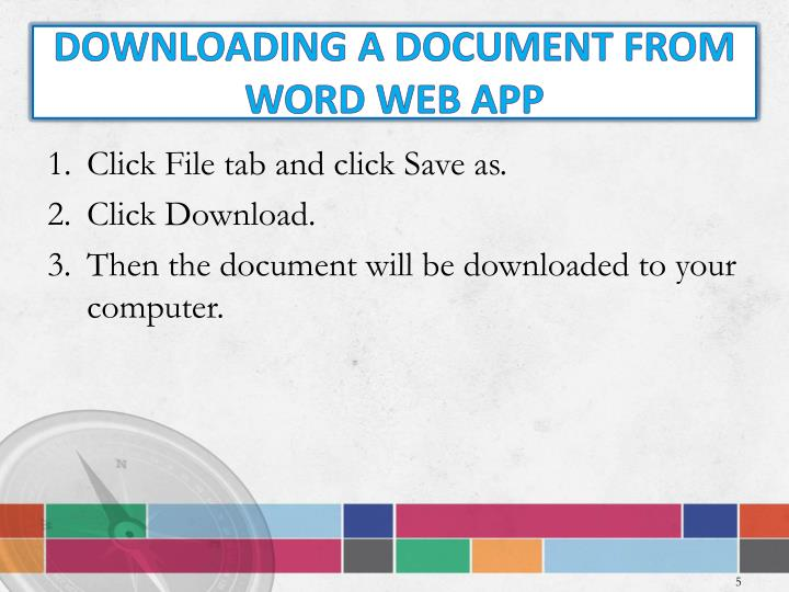 Downloading a document from WORD WEB APP