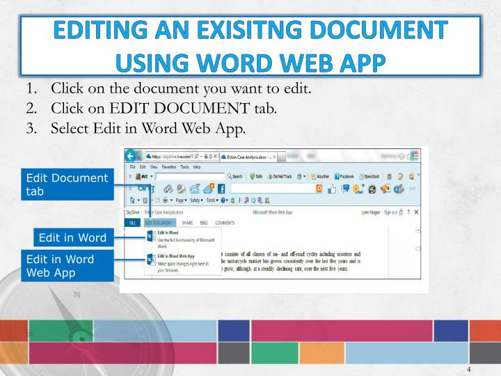 Editing AN EXISITNG Document using Word