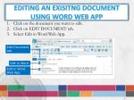editing an exisitng document using word web app
