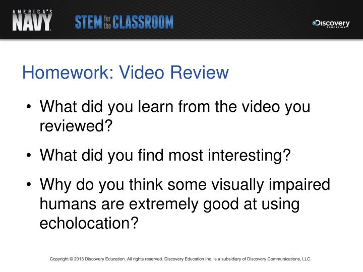 Homework: Video Review