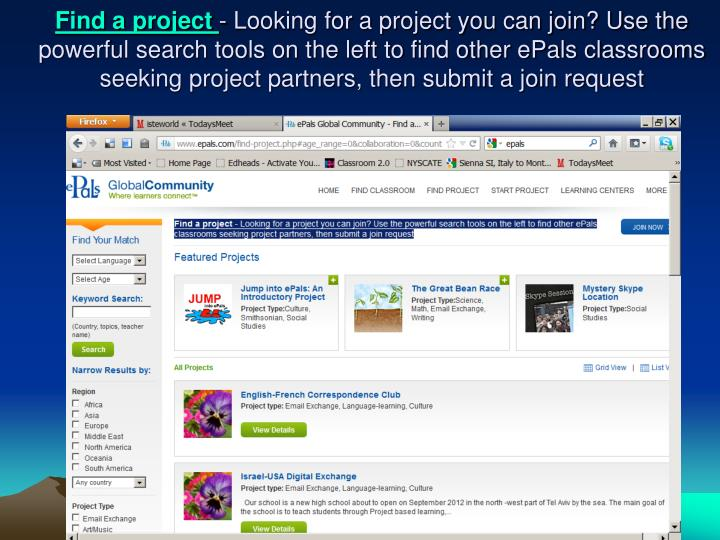 Find a project