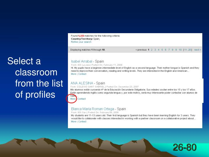 Select a classroom from the list of profiles