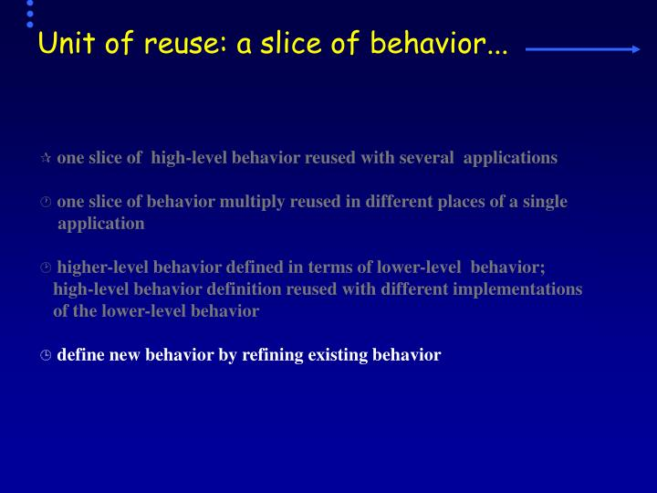 Unit of reuse: a slice of behavior...