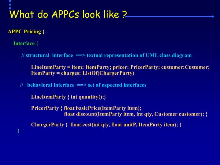 What do APPCs look like ?