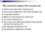 my concerns about this course are